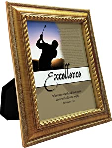 VERSERIES Perseverance Picture Frame   Traditional Fancy & Modern Style Canvas Photo Frame Gift and Art   for Display Desk, Home, Office, Tabletop, Room Decor (Rustic Gold Frame, Set of 1)