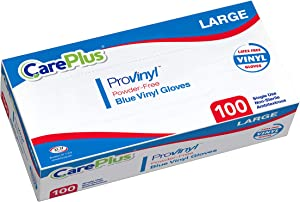 Disposable Blue Vinyl Gloves, Large Size, Cleaning Gloves, Non Latex, Plastic Gloves, Food Service Gloves, Ambidextrous Gloves, Powder Free, All Purpose Gloves, 100 Count Dispenser Box, Blue Gloves