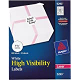 Avery High Visibility 1-2/3 Inch Diameter White Labels 600 Pack (5293)