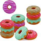 """SRENTA 3"""" Rainbow Novelty Squishy Donut Stress Balls, Squeeze Stress Relief Donuts, Pack of 12"""