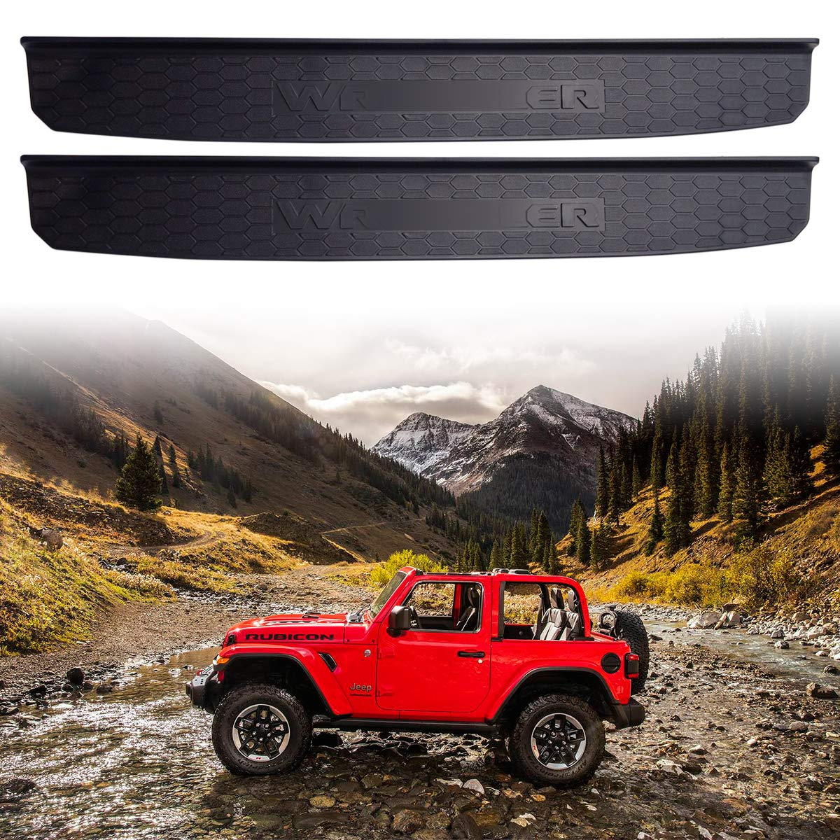 XBEEK 2 Door Sill Guards Entry Guards Fit for 2018 2019 Jeep Wrangler JL ABS Black Molded