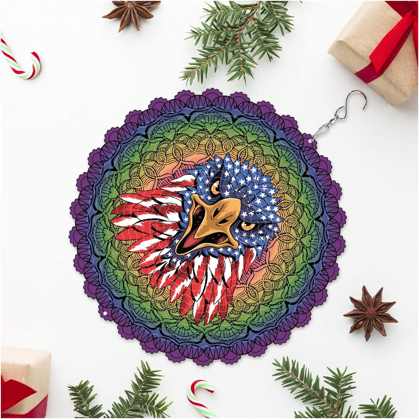 Wind Spinners Outdoor Metal Decorations | Stainless Steel Ornament for Eagle American USA US Flag Mandala Garden Home Decor | Multi Color Metal Sun Catcher Art for Tree Hanging, Backyard