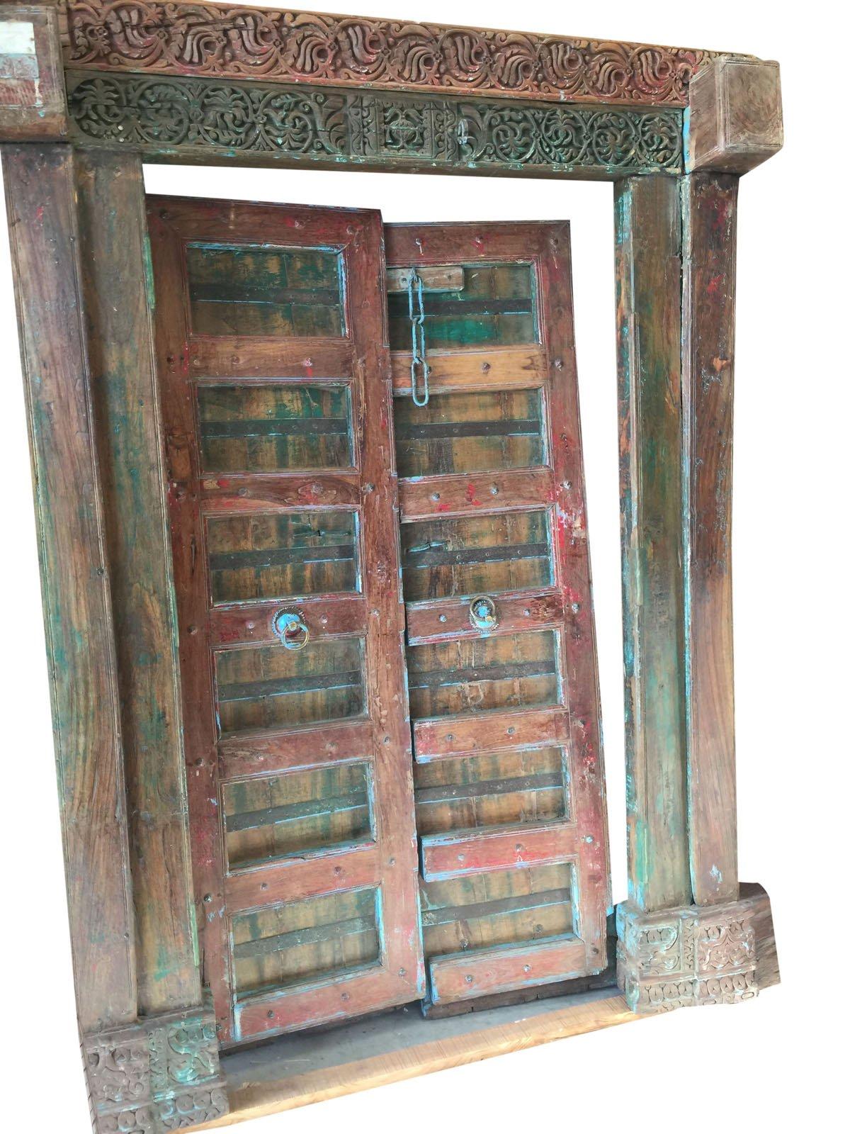Antique Indian Doors Hand Carved Original Blue Patina Teak Doors 18c