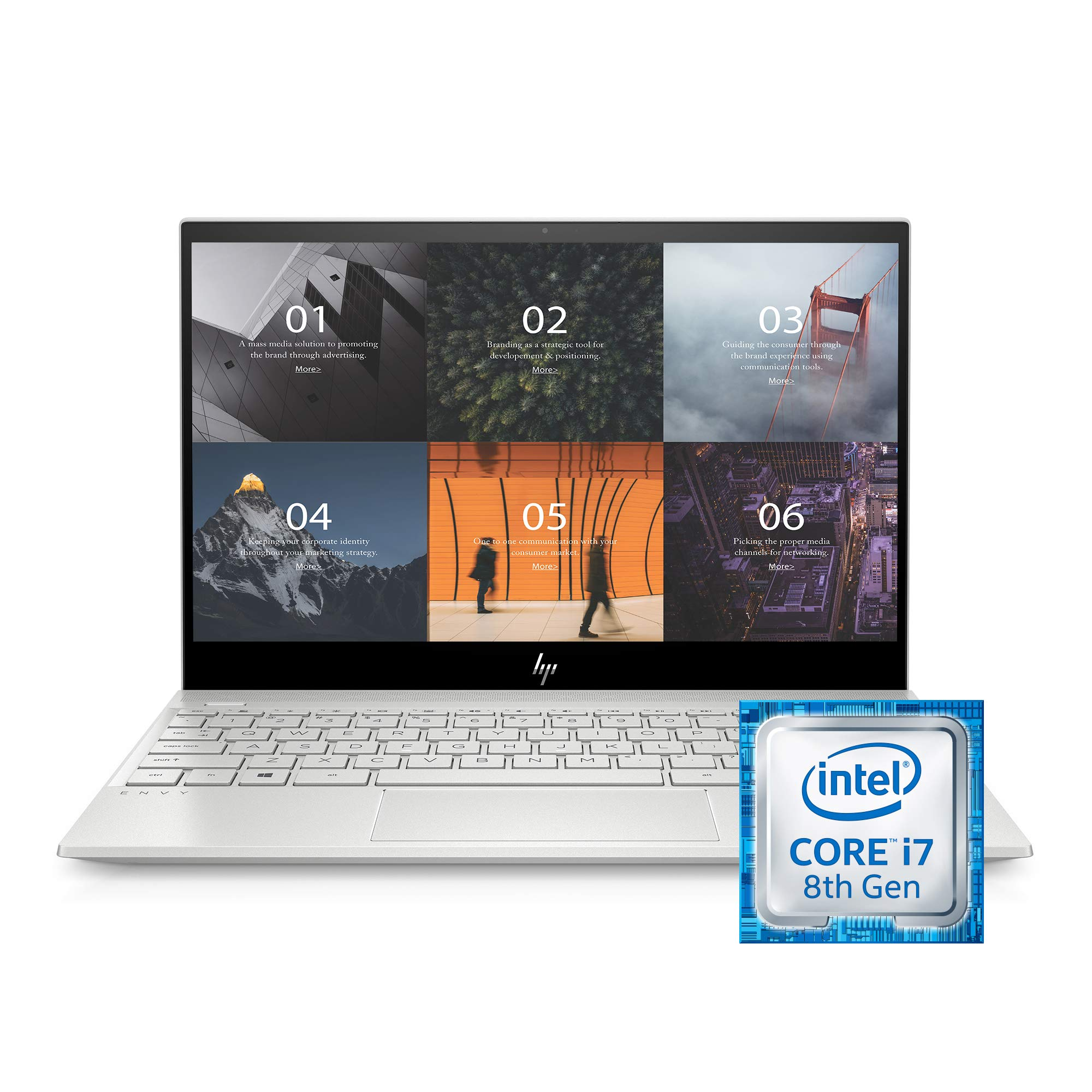 HP ENVY 13'' Thin Laptop w/ Fingerprint Reader, 4K Touchscreen, Intel Core i7-8565U, NVIDIA GeForce MX250 Graphics, 16GB SDRAM, 512GB SSD, Windows 10 Home (13-aq0044nr, Natural Silver)