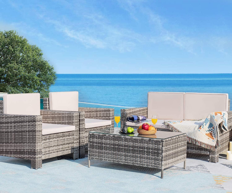 Homall 4 Pieces Outdoor Patio Furniture Sets Rattan Chair Wicker Conversation Sofa Set, Outdoor Indoor Backyard Porch Garden Poolside Balcony Use Furniture (Gray)