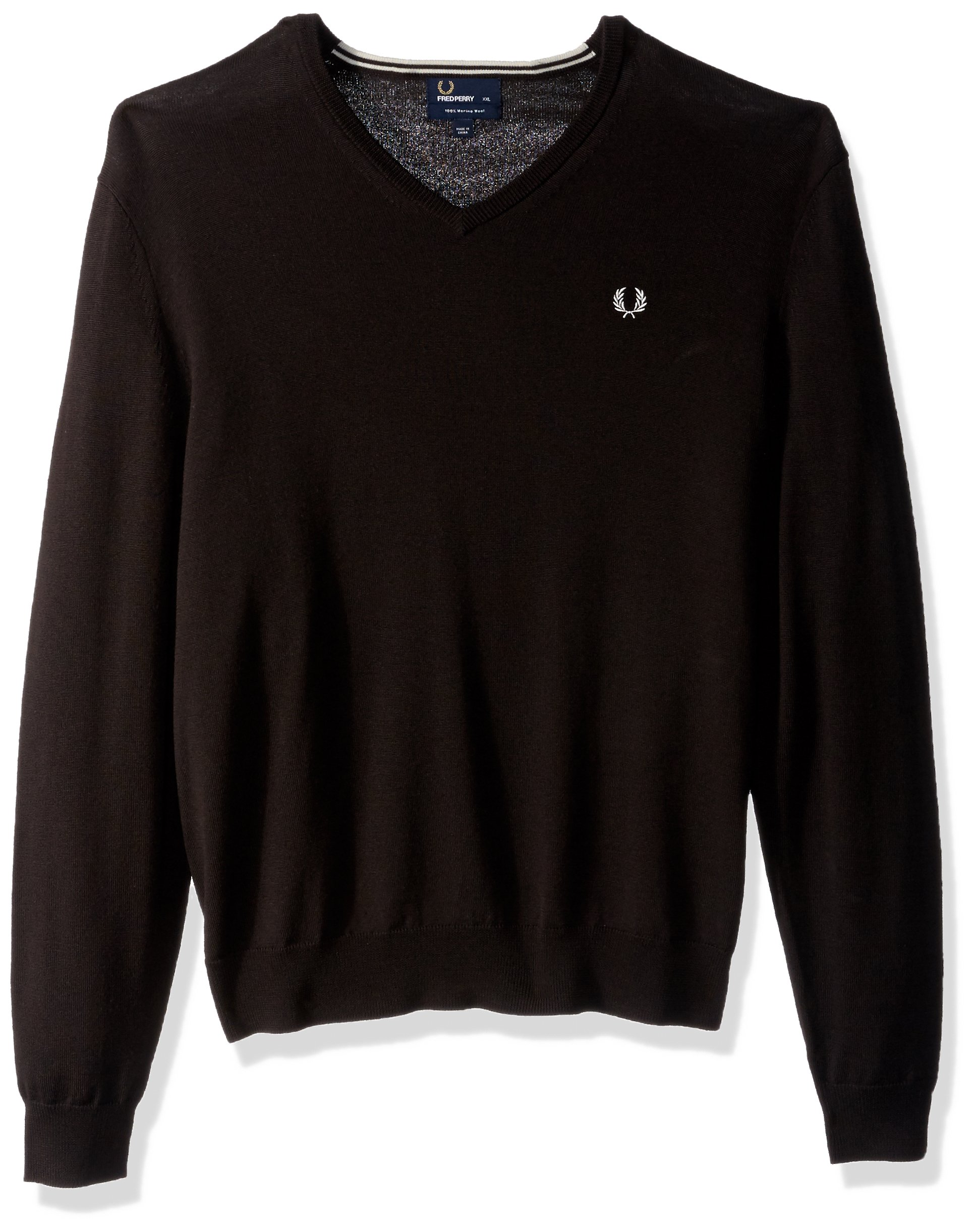 Fred Perry Men's Classic Tipped V Neck Sweater, Dark Chocolate, Small
