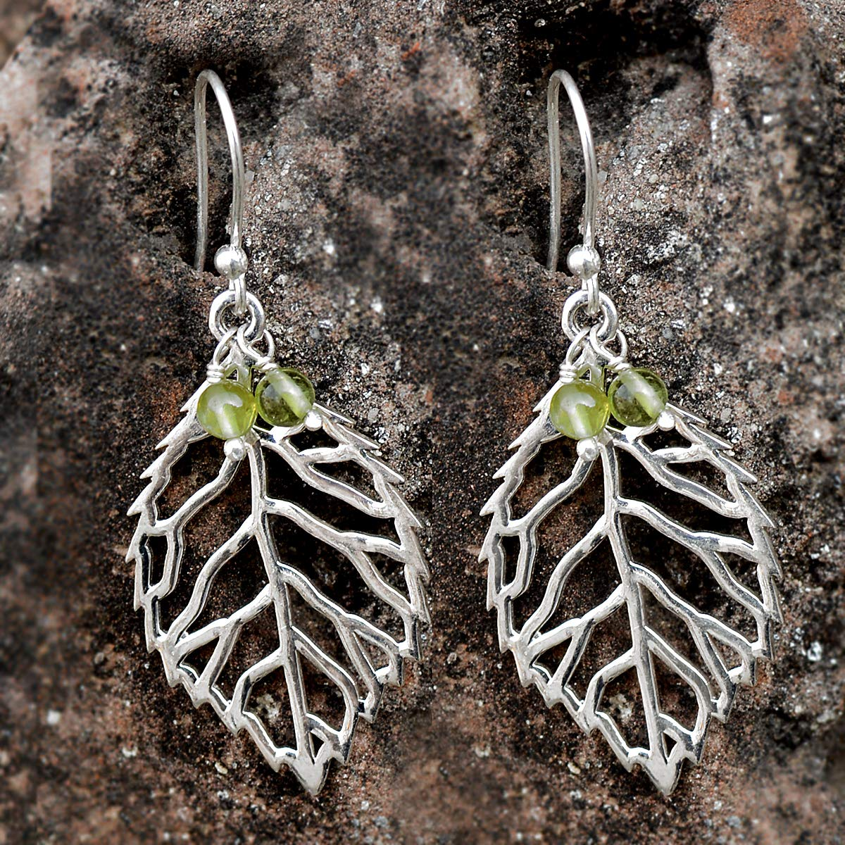Saamarth Impex Peridot Gemstone 925 Sterling Silver Earring PG-156041