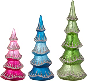 """Raz Imports Bo Ho Ho 12"""" Beaded Tree, Set of 3 - Festive Miniature Tree Sculpture and Tabletop Holiday Decoration - Cute Christmas Topiaries and Plant Figurines for Tables, Shelves and Desks"""