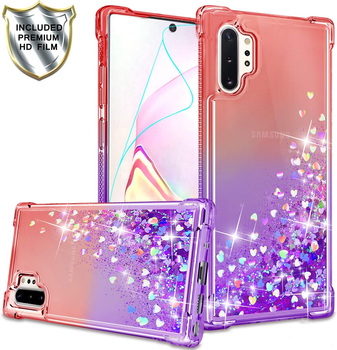 Gritup Galaxy Note 10 Plus Case, Galaxy Note 10+ 5G Case with HD Screen Protector for Girls Women, Cute Clear Gradient Glitter Liquid TPU Slim Phone Case for Samsung Galaxy Note 10 Plus Red/Purple