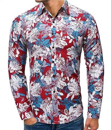 Camisa Hawaiana Hombre, Negocio Ocio Camisa de Manga Larga con Estampado de Botones de Solapa Slim fit Blusa Top Moda Camiseta Primavera otoño Formal Camisas Casual para Hombre: Amazon.es: Ropa y accesorios