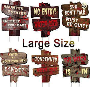 "anroog Halloween Decorations 6 Pack Yard Signs Stakes Beware Props Halloween Outdoor Decor Bloody Scary Zombie Vampire Graves Holiday Supplies (6 Pack 15"" x 11"")"