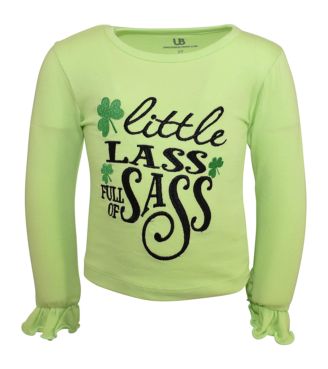 Unique Baby Girls St Patricks Day Little Lass Bell Bottom Pants Outfit