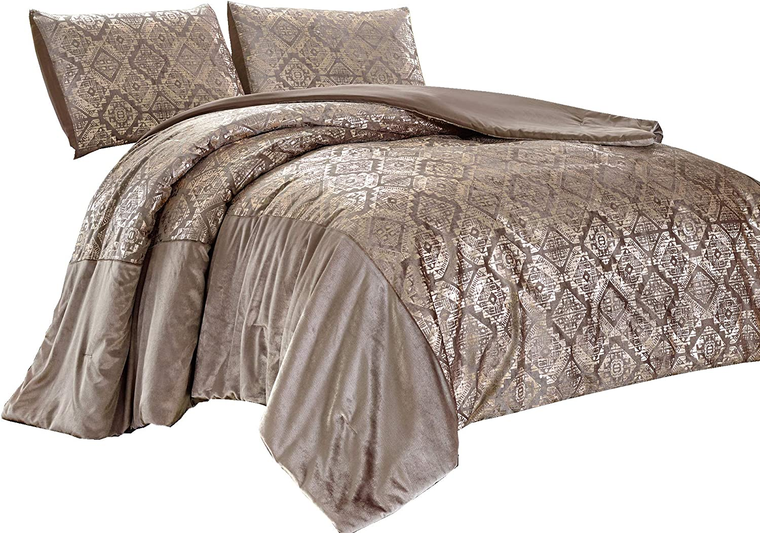 Chezmoi Collection Falcon 3-Piece Coverlet Set - Metallic Glitter Champagne Gold Velvet Bedspread, King Size
