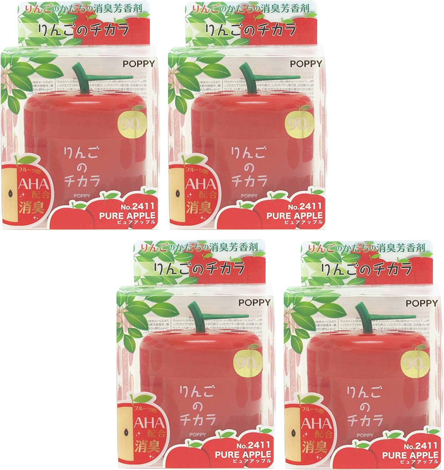 Super Apple car air freshener, 4 packs Pure Apple scent in cute Apple shape container, best JDM Japan Car, Home, Office Air Freshener