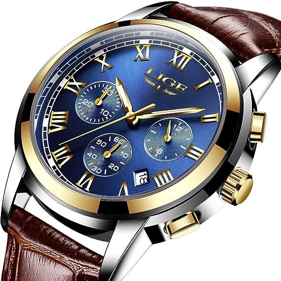 Relojes Hombres Casual Moda Cuero Relojes Hombres Cronógrafo Impermeable Deporte Fecha Cuarzo Reloj de Pulsera Azul: Amazon.es: Relojes