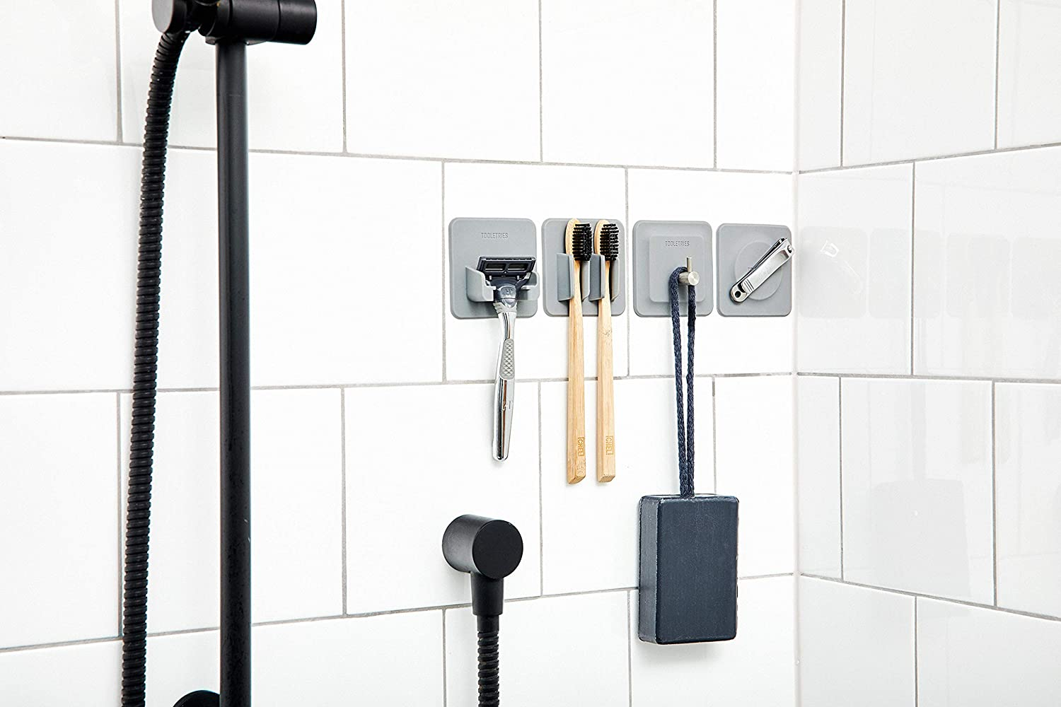 CHARCOAL Tooletries Multi-purpose Reusable Strong Grip The 4-In-1 Tile Series