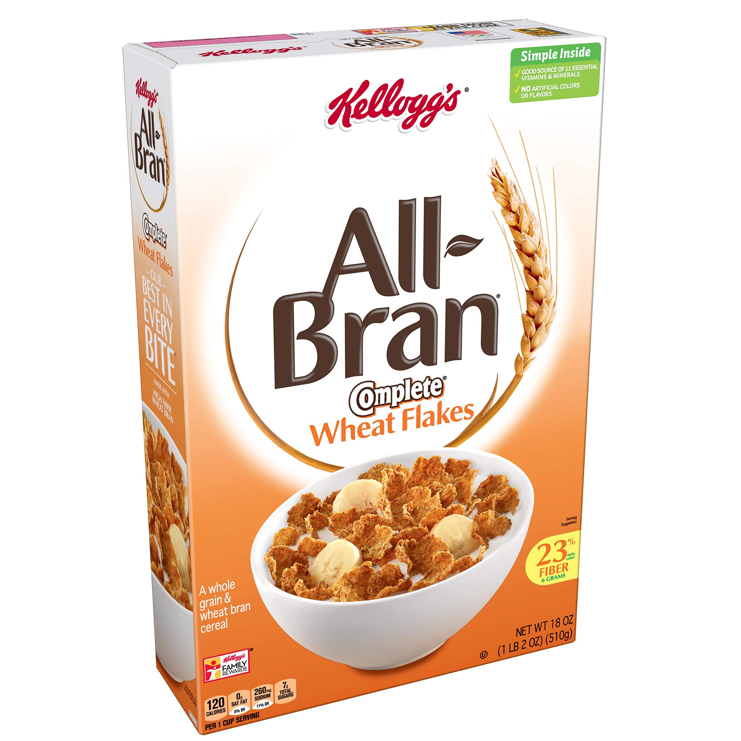 (Discontinued Version) Kellogg's All-Bran Complete Wheat Flakes, Breakfast Cereal, Excellent Source of Fiber, 18 oz Box(Pack of 2)