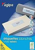 Agipa 118990 Boîte de 6500 étiquettes Multi Usage Coins Droits 38 x 21,2 Blanc