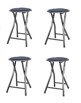 La Silla Española - Pack 4 Taburetes plegables fabricados en aluminio con asiento acolchado en PVC. Color negro. Medidas 45x30x30, 4 unidades