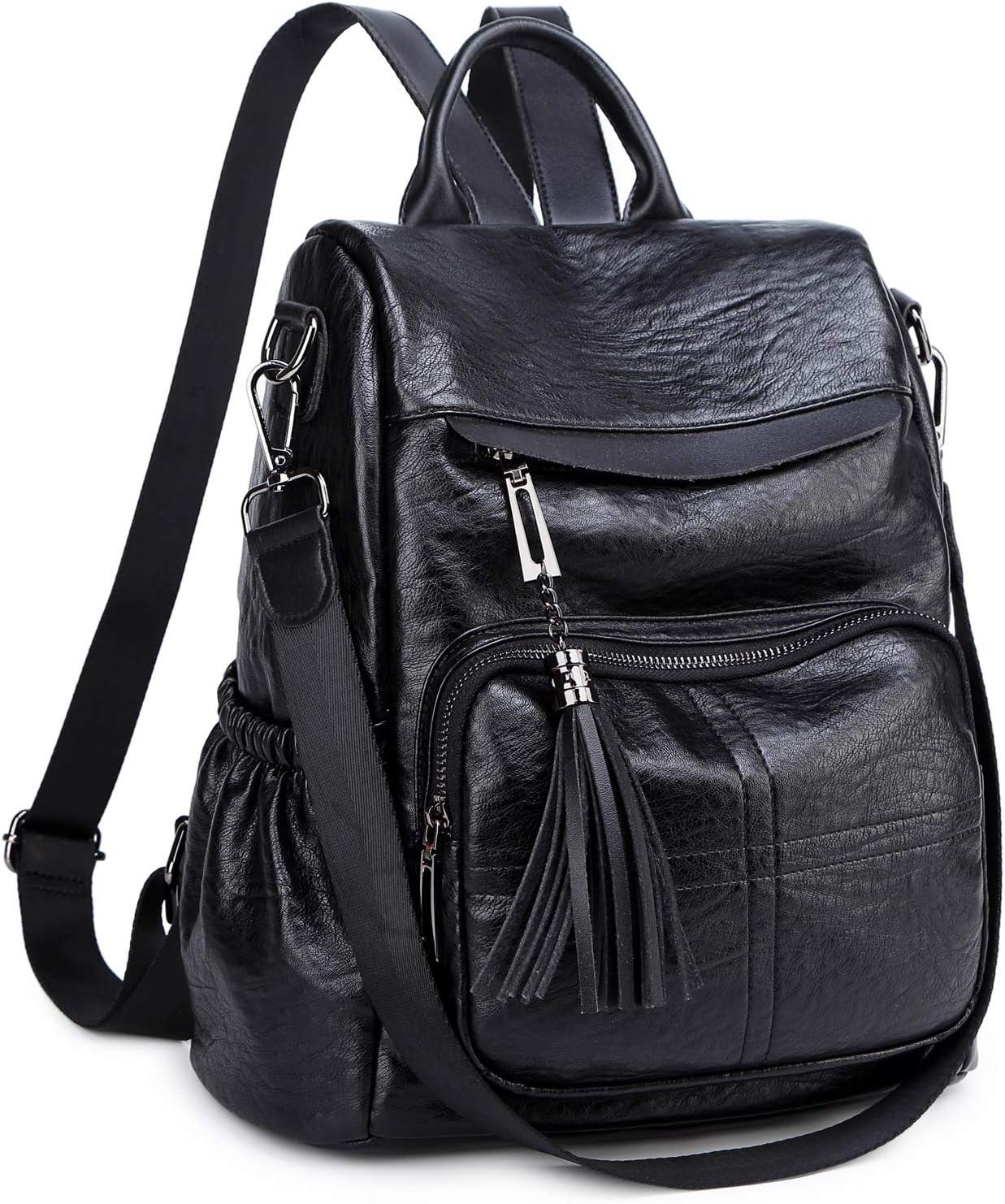 Women Backpack Purse PU Leather Convertible Shoulder Bag Antitheft Rucksack (Black)