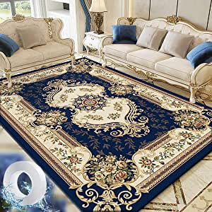 Vintage Flower Area Rug Living Room Carpet Center Rugs Large Floor Mat Anti-slip and Washable 160x230cm Dark Blue with 3m Nano Adhesive Tape for Living Room Dining Room Balcony