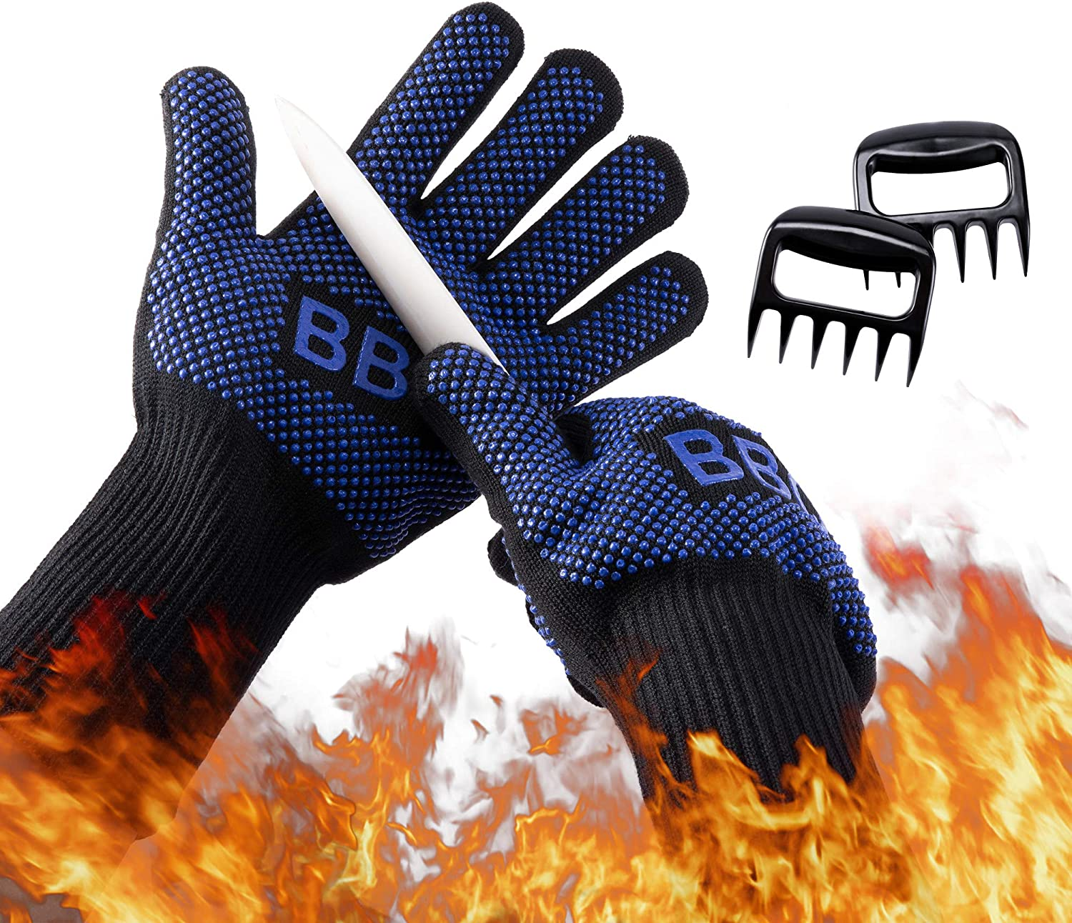 Goodking BBQ Gloves 1472 °F Heat Resistant Grill Gloves, Food Grade Kitchen Oven Gloves, Silicone Non-Slip Cooking Hot Glove with Meat Claws for Grilling, Welding, Baking, Barbecue - Blue