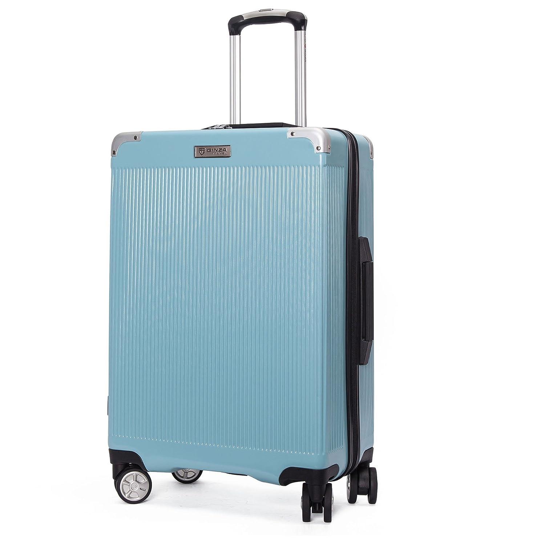 クロース(Kroeus) スーツケース ファスナー式 大型キャスター 8輪 静音 キャリーケース 大容量 軽量 旅行 出張 TSAロック搭載 エンボス加工 傷に強い ソフトなハンドル 取扱説明書付 B07C3NF2CK S|ブルー ブルー S