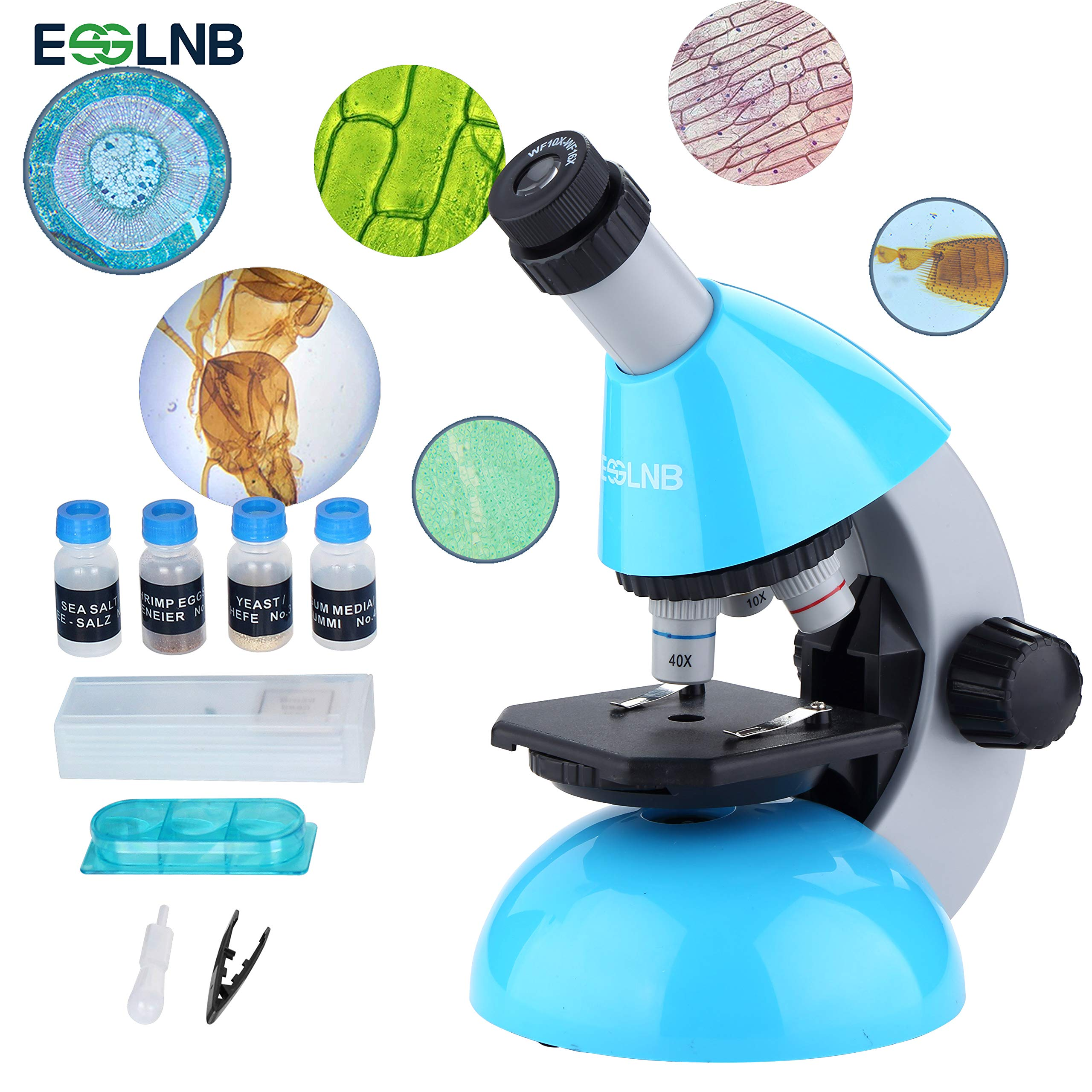 ESSLNB Kids Microscope with Science Kits and Slides LED Beginner Microscope 40X- 640X with Zoom Eyepiece Monocular Microscope for Students