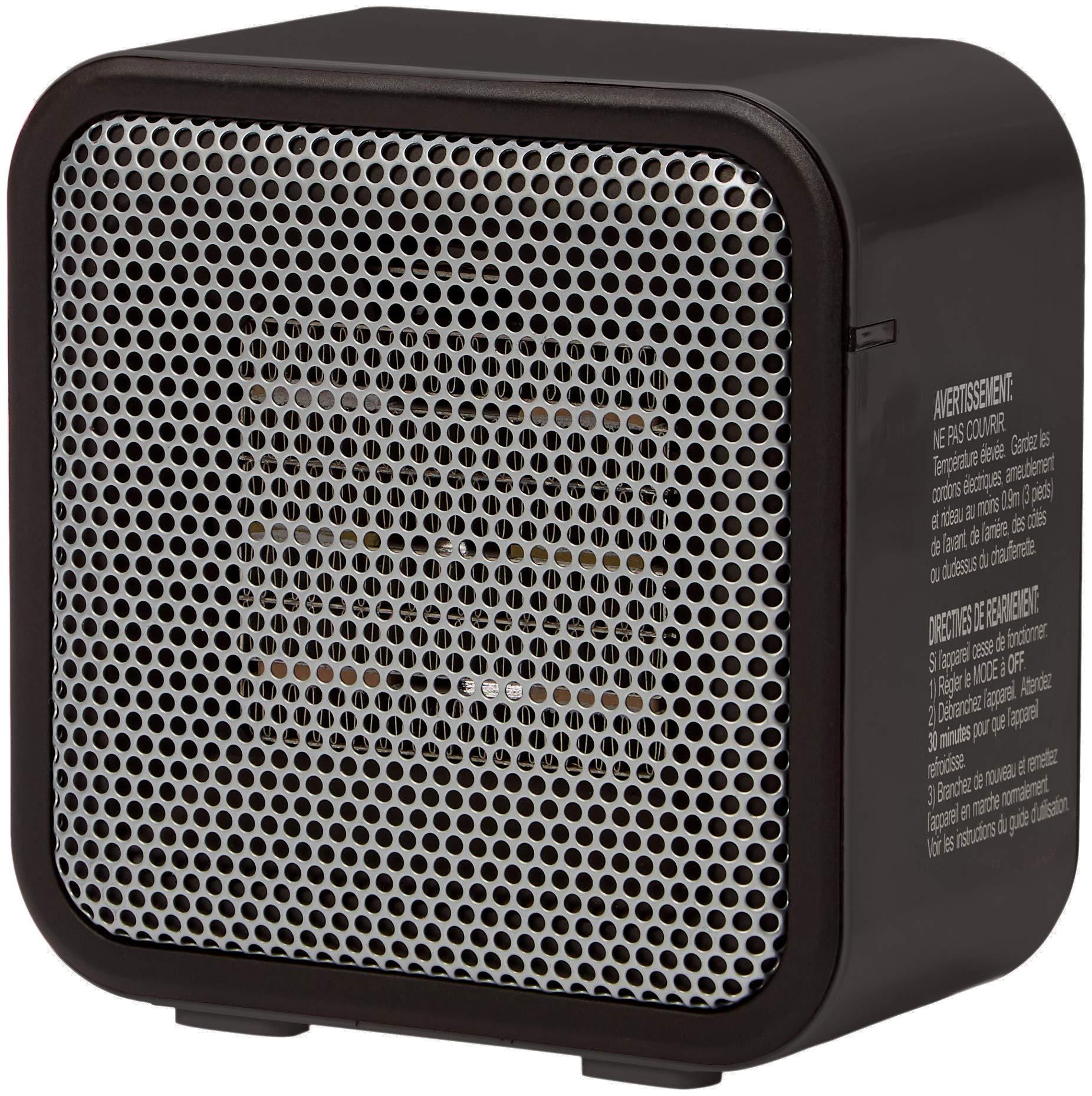 Amazon Basics 500-Watt Ceramic Small Space Personal Mini Heater - Black