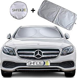 "Shade-It Car Windshield Sun Shade + Free Product Durable 210T Nylon Polyester Heat Block & UV Protection Sunshades - Sunlight Blocker Reflective Coating, Easy Storage Sunshade (Small 60.75"" x 28.25"")"