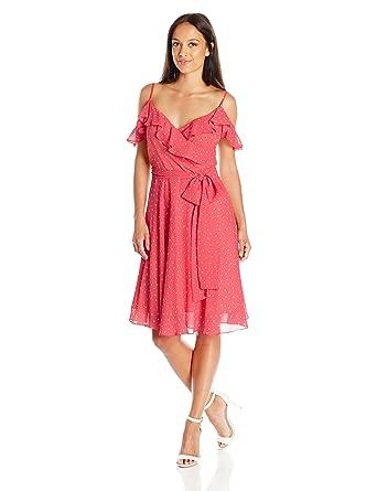 a8b8c353b72 Tahari by Arthur S. Levine Women s Pettite Off Shoulder Polka Dot Dress at  Amazon Women s Clothing store