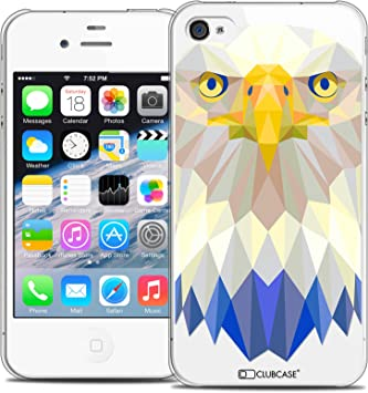 Caseink - Coque Housse Etui pour Apple iPhone 4/4S [Crystal HD Polygon Series Animal - Rigide - Ultra Fin - Imprimé en France] - Aigle