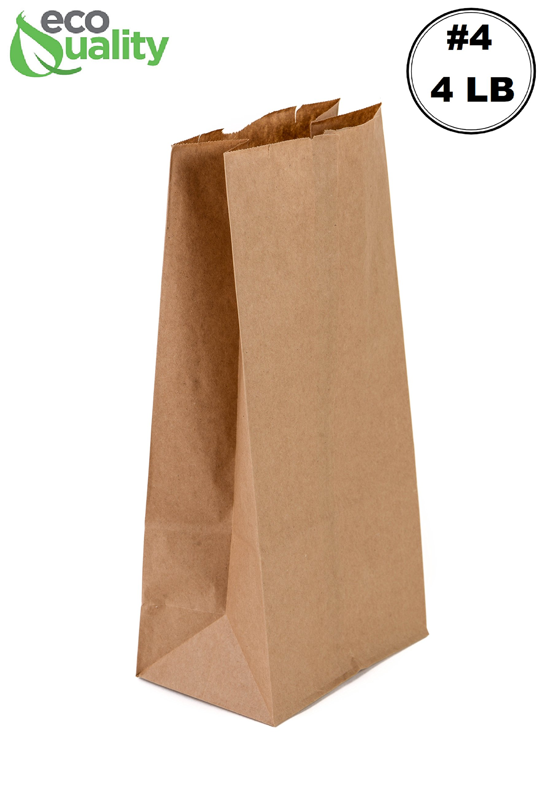 EcoQuality 500 Brown Kraft Paper Bag (4 lb) Small - Paper Lunch Bags, Small Snacks, Gift Bags, Grocery, Merchandise, Party Bags (4 7/8'' x 3'' x 10'') (4 Pound Capacity)