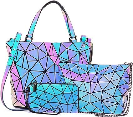 LOVEVOOK Handtasche Set Damen, Geometrische Holographic