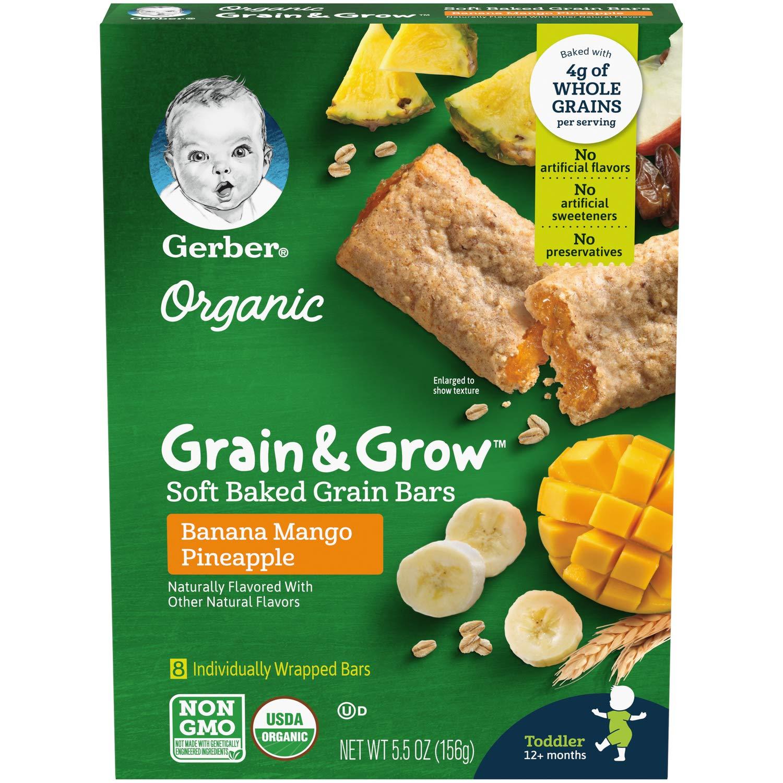 Gerber Up Age Organic Grain & Grow Soft Baked Grain Bars, Banana Mango Pineapple, 5.5 Ounce, 8 Count (Pack of 8)