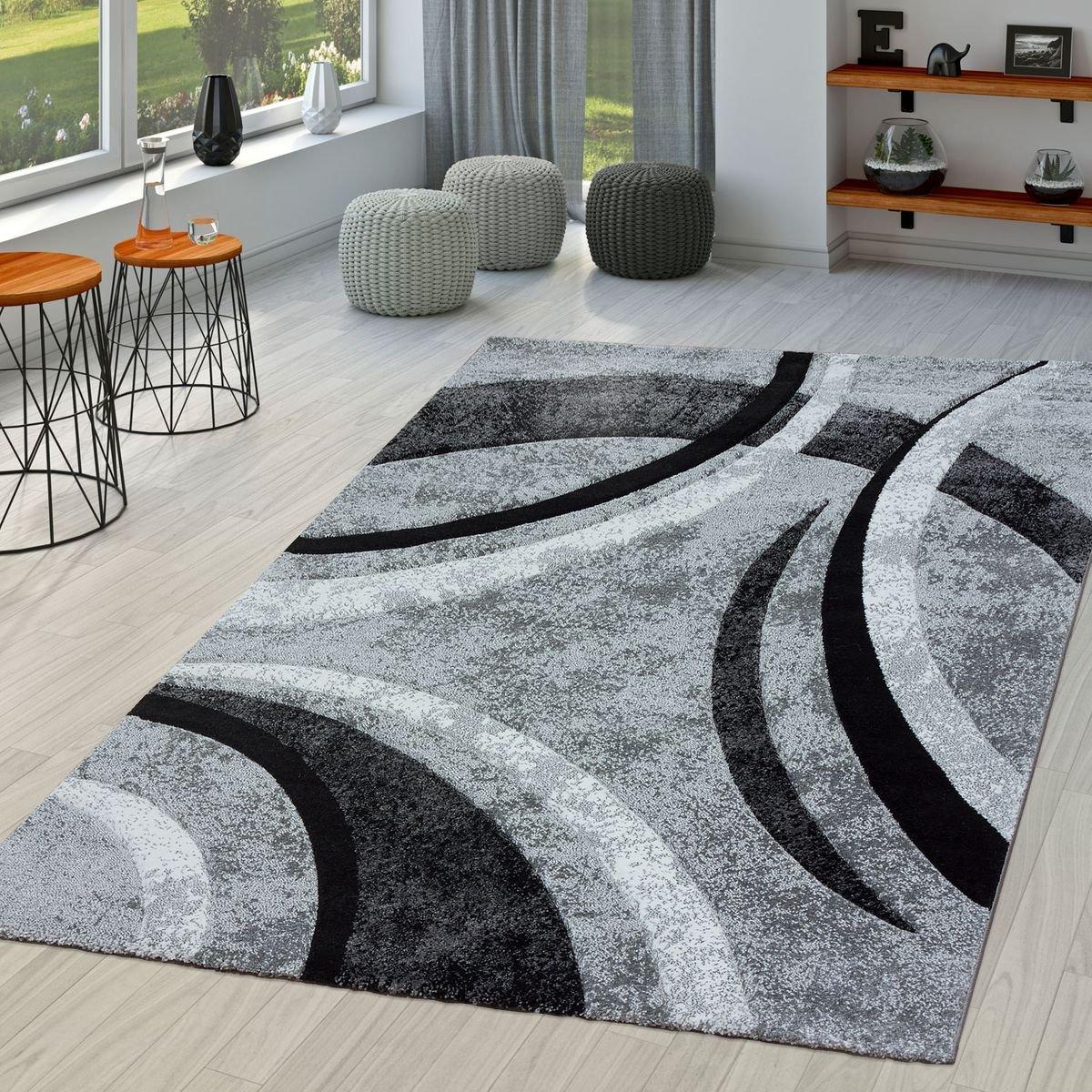 T&T Design Teppich Wohnzimmer Gestreift Modern mit Konturenschnitt in Grau Schwarz Meliert, Größe 240x330 cm