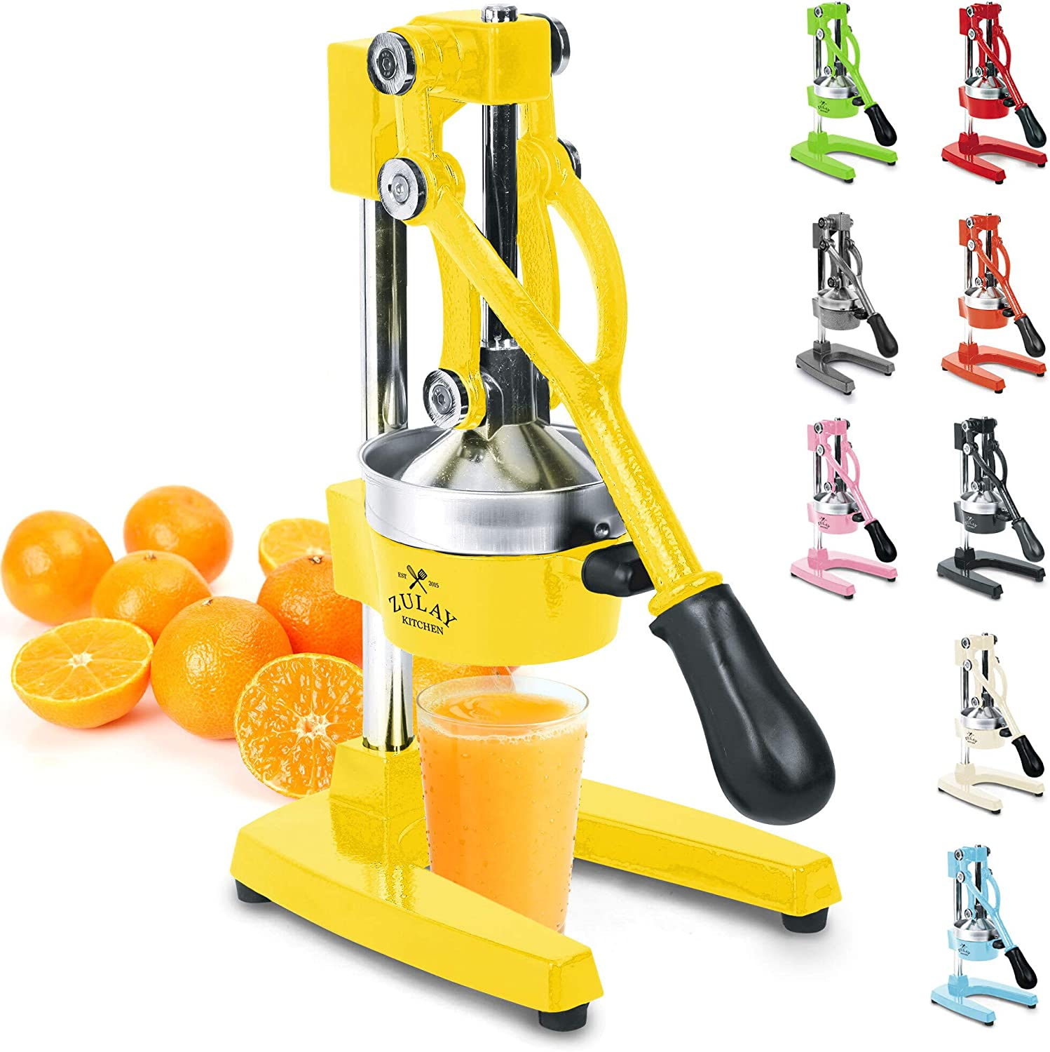 Zulay Professional Citrus Juicer - Manual Citrus Press and Orange Squeezer - Metal Lemon Squeezer - Premium Quality Heavy Duty Manual Orange Juicer and Lime Squeezer Press Stand, Yellow