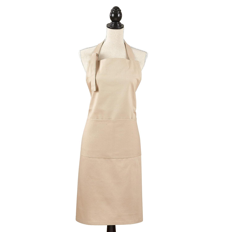 SARO LIFESTYLE Apron Collection Classic Cuisine Denim Apron//2443.W01 Full White