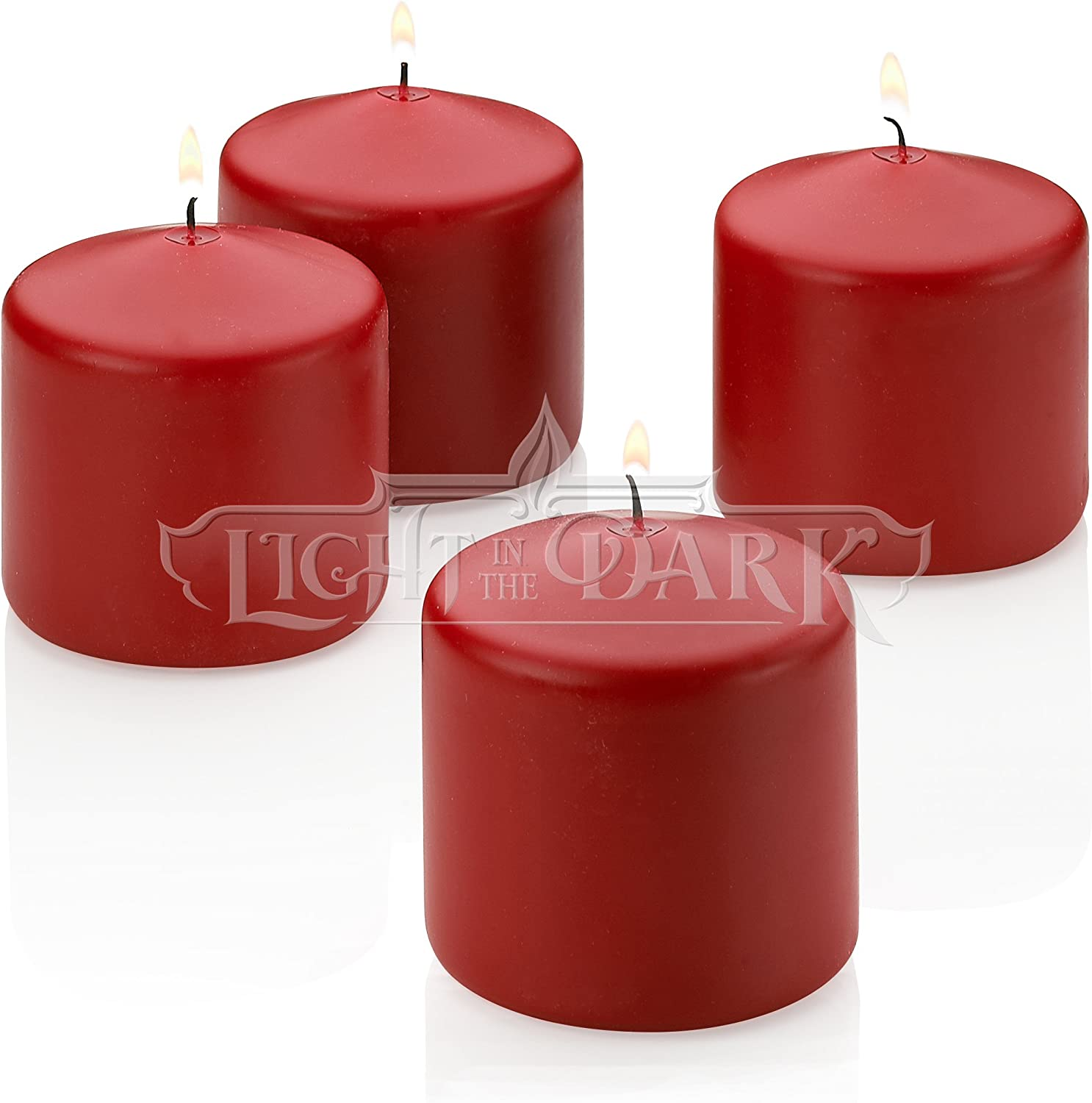 Light In The Dark 4 Red Apple Cinnamon Scented Pillar Candle 3 Inch Tall X 3 Inch Wide