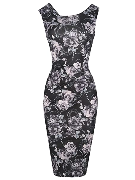 7738f7005ed4 oxiuly Women s Retro 1950s Style Sleeveless Slim Business Pencil Bodycon  Dress OX269 (S