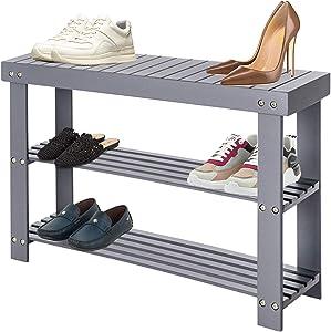 Halter 3-Tier Bamboo Shoe Rack Bench, Shoe Rack for Closets, Shoe Rack for Entryway, Shoe Rack Organizer and Bathroom Bench (Gray)