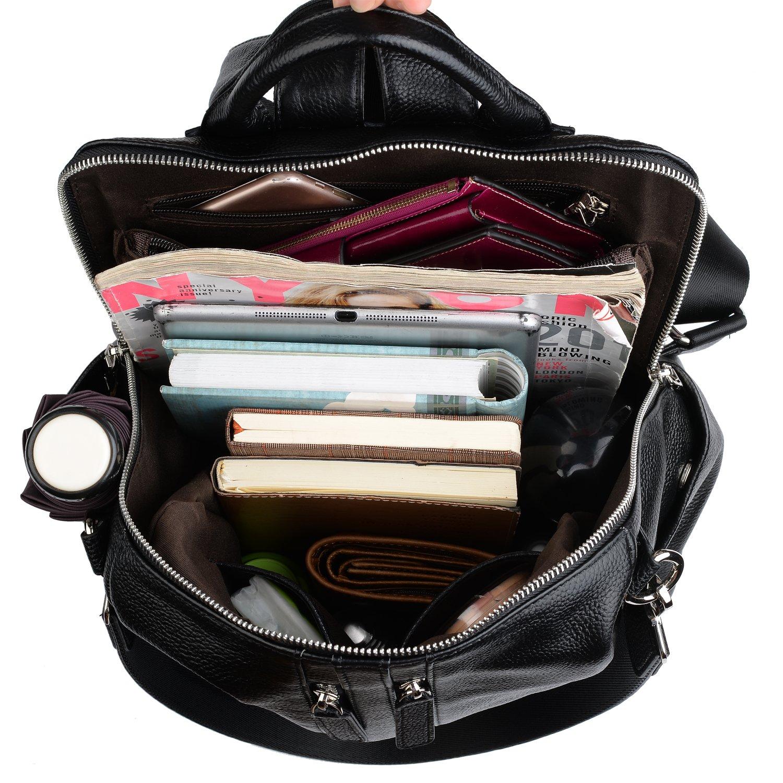 Upgraded 3.0 Black 11002306-1 YALUXE Womens Convertible Real Leather Backpack Versatile Shoulder Bag