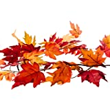 CraftMore 6-Feet Fall Maple Leaf Garland (Colors Range from Dark Red Hues to Crisp Yellow)