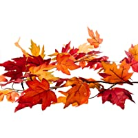 CraftMore Fall Maple Leaf Garland - 6 Feet - Colors Range from Dark Red Hues to Vibrant Orange - Perfect Fall Decoration