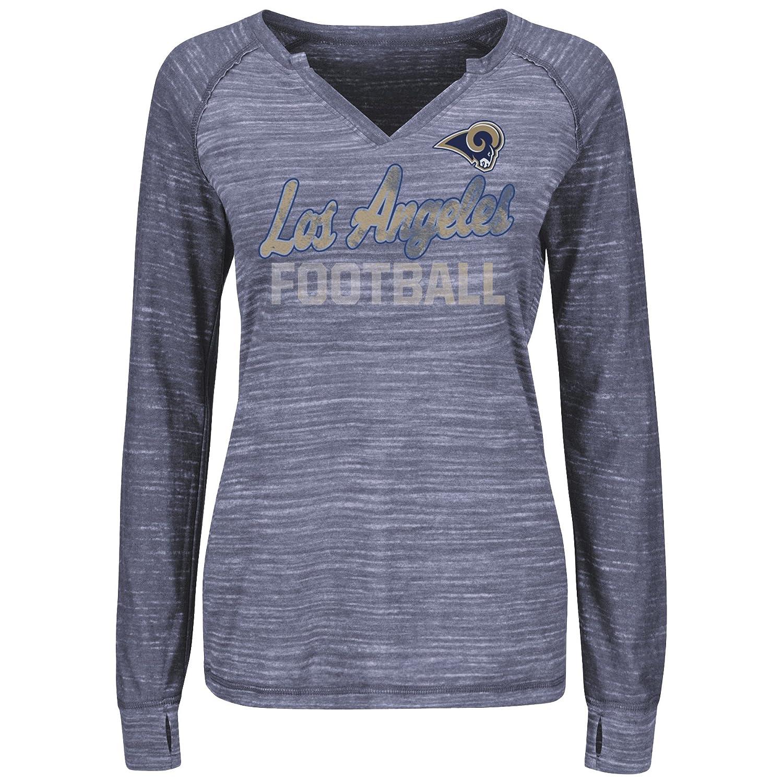 50660576 Majestic Los Angeles Rams Women's Lead Play Long Sleeve Split Neck T-Shirt