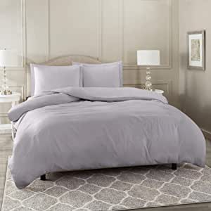"""Nestl Bedding Duvet Cover 2 Piece Set – Ultra Soft Double Brushed Microfiber Hotel Collection – Comforter Cover with Button Closure and 1 Pillow Sham, Gray Lavender - Twin (Single) 68""""x90"""""""