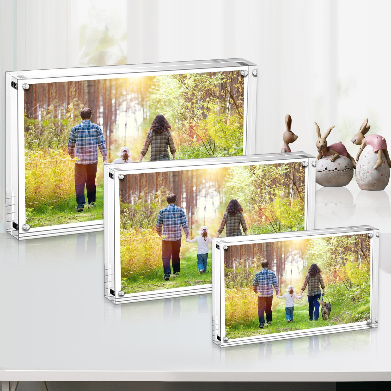 Boxalls Premium Acrylic Photo Frame, 4x6 inches Magnet Photo Frame, Clear Double Sided, Holds Pictures,10mm+10mm Thickness Transparent by (2 Pack)