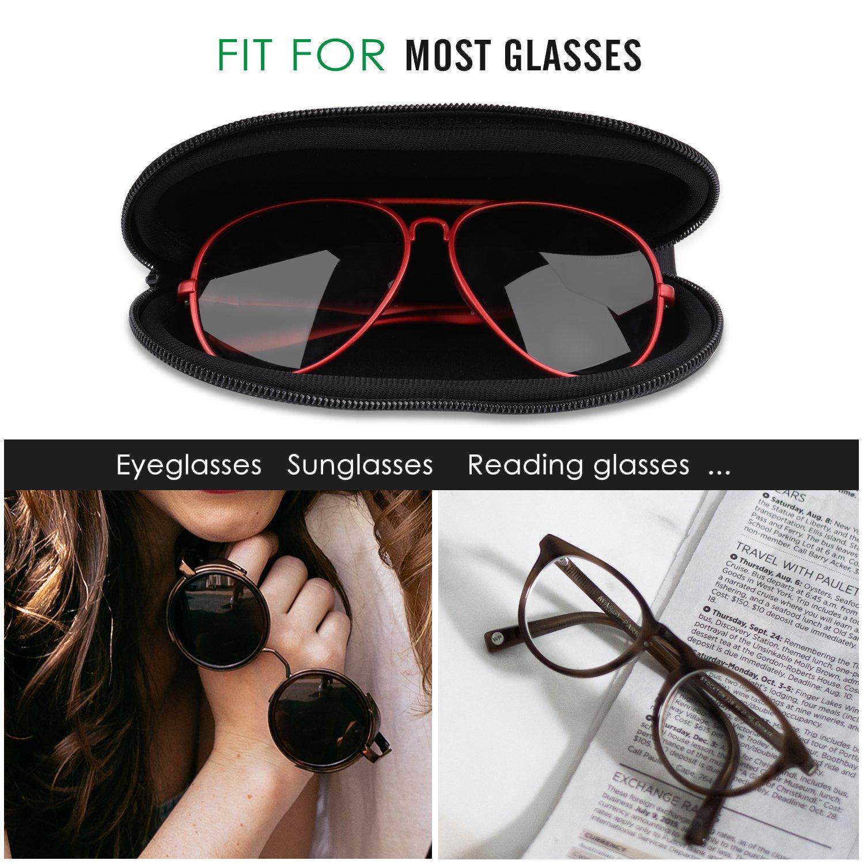 MoKo Funda de Gafas - [Ultra Ligero] Neopreno con Cremallera Almacenaje Lente Suave Sunglasses Case con Clip de Cinturón para Gafas, Bolsa de Llaves, ...
