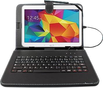Funda para Samsung Galaxy Tab 4 (SM-T530/T533 negro + teclado integrado AZERTY), Tab A 9,7 pulgadas (T550) y Tab A 10.1 (2016) T580 Tablets 10.1