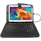 """Etui noir + clavier intégré AZERTY pour Samsung Galaxy Tab 4 (SM-T530/T533), Tab A 9,7"""" (T550) et Tab A 10.1 (2016) T580 tablettes 10.1"""" - stylet tactile BONUS + Garantie DURAGADGET de 2 ans"""